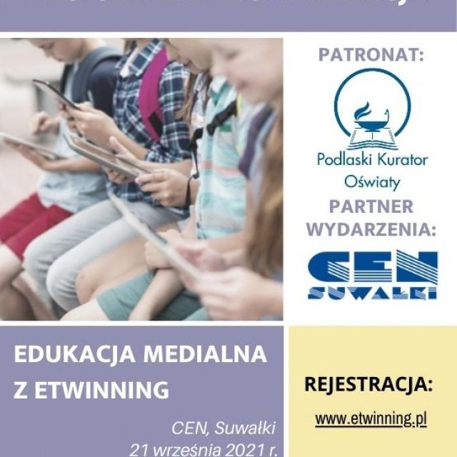 """Zapraszamy 21 września na konferencję """"Edukacja Medialna z eTwinning"""" pod patronatem Podlaskiego Kuratora Oświaty"""