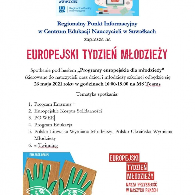 Regionalny Punkt Informacyjny w CEN w Suwałkach zaprasza na Europejski Tydzień Młodzieży